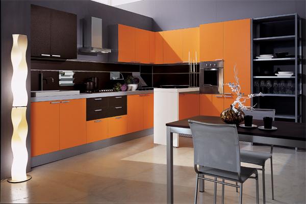 مطابخ راقيه باللون البرتقالي